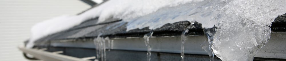 ice and snow in gutters